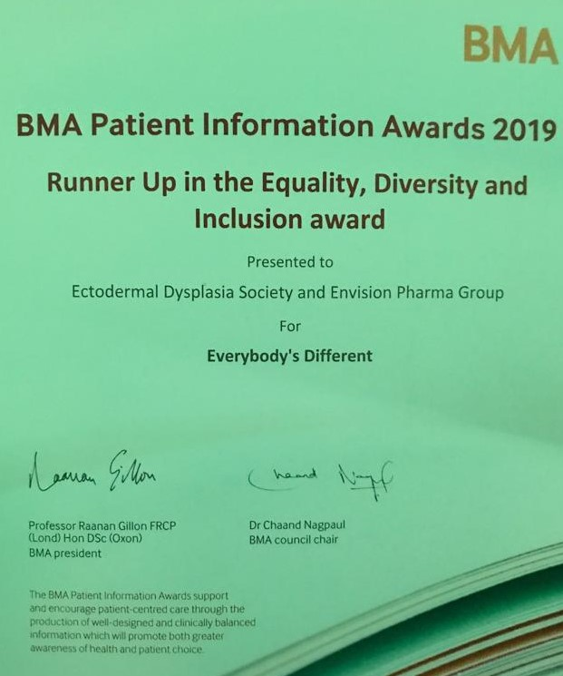 BMA Patient Information Awards certificate